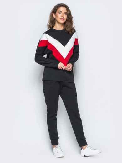 Спортивные штаны черного цвета на флисе - 17371, фото 4 – интернет-магазин Dressa