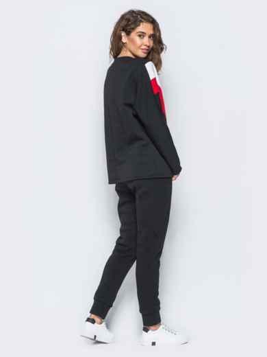 Спортивные штаны черного цвета на флисе - 17371, фото 5 – интернет-магазин Dressa