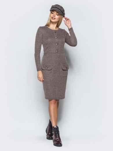 Трикотажное платье-футляр бежевого цвета с прорезными карманами - 17581, фото 2 – интернет-магазин Dressa