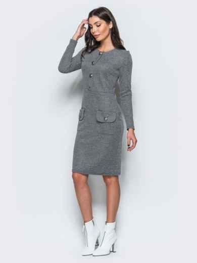 Трикотажное платье-футляр серого цвета с прорезными карманами - 17582, фото 2 – интернет-магазин Dressa