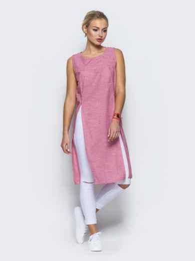 Туника в клетку виши с высокими разрезами на полочке розовая - 13185, фото 3 – интернет-магазин Dressa