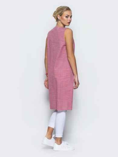 Туника в клетку виши с высокими разрезами на полочке розовая - 13185, фото 4 – интернет-магазин Dressa
