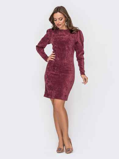 Вельветовое платье приталенного кроя бордовое 52319, фото 1