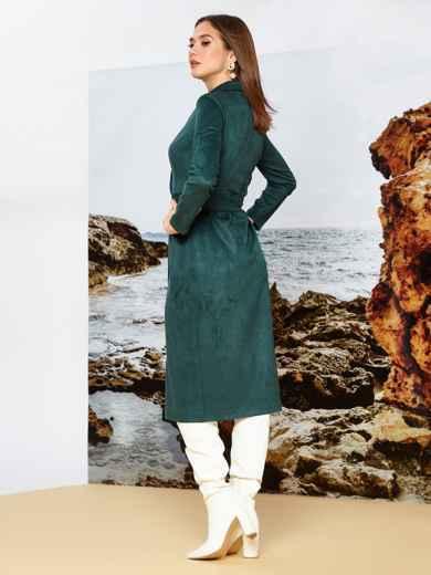 Зелёное платье на запах из замши с широкими лацканами - 42197, фото 2 – интернет-магазин Dressa