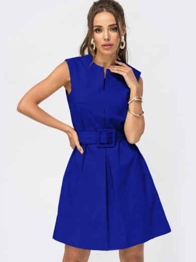 Синее платье-трапеция со встречной складкой по полочке 54685, фото 1