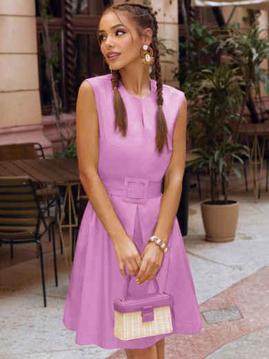 Сиреневое платье-трапеция со встречной складкой по полочке 54686, фото 1