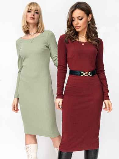 Обтягивающее платье-миди с круглым вырезом бордовое 53012, фото 1