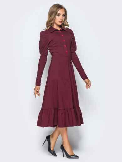 Бордовое платье с оборкой по низу и рукавом-фонариком - 15688, фото 2 – интернет-магазин Dressa