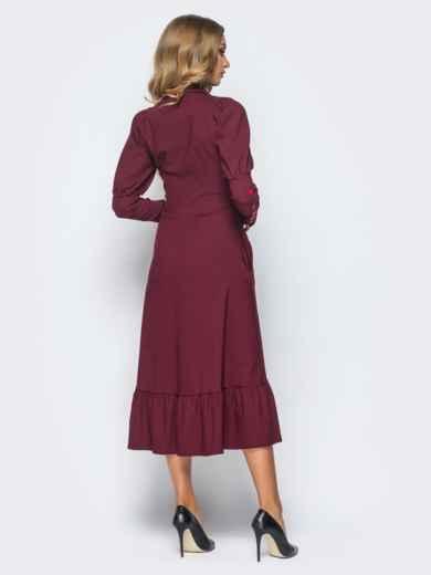 Бордовое платье с оборкой по низу и рукавом-фонариком - 15688, фото 3 – интернет-магазин Dressa