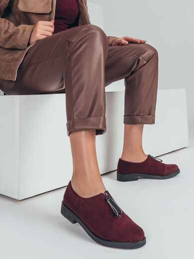 Бордовые туфли из искусственной замши на низком ходу 50696, фото 1