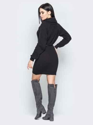 Чёрное платье с рукавом-реглан и поясом - 19470, фото 2 – интернет-магазин Dressa
