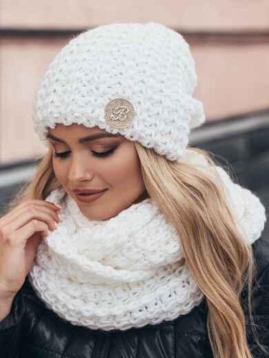 Комплект из шапки и снуда с контрастной нитью белый - 15539, фото 3 – интернет-магазин Dressa