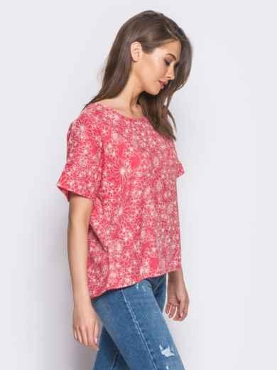 Красная блузка с цветочным принтом 12037, фото 2