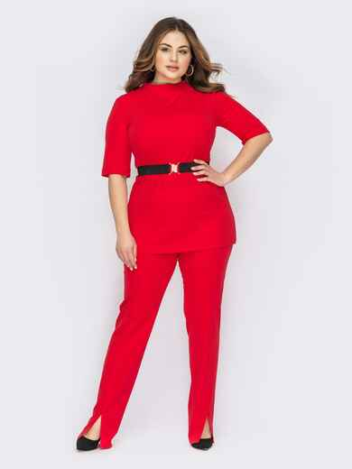 Красный костюм батал из туники и брюк с разрезами 53613, фото 1
