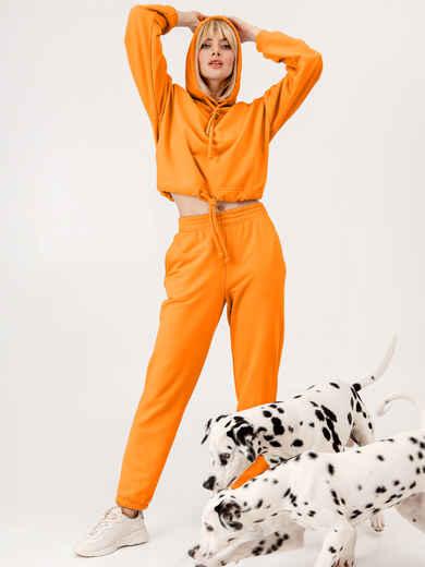 Оранжевый костюм из худи и штанов на резинке 53559, фото 1