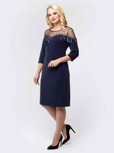 Платье с нитью люрекса и фактурным фатином тёмно-синее - 18469, фото 2 – интернет-магазин Dressa