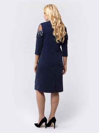 Платье с нитью люрекса и фактурным фатином тёмно-синее - 18469, фото 3 – интернет-магазин Dressa