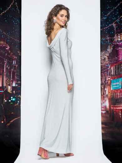 Платье в пол серого цвета из люрекса - 18000, фото 2 – интернет-магазин Dressa