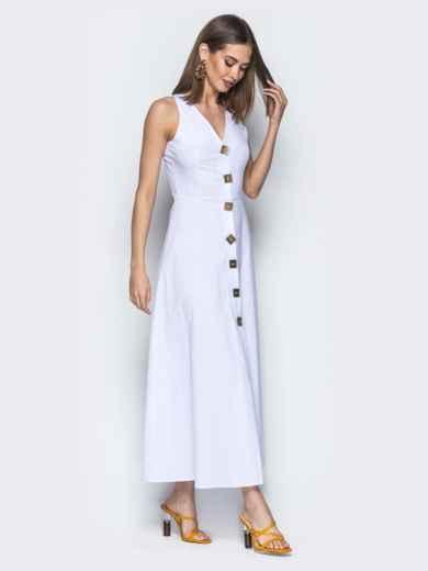 Приталенное платье-макси с квадратными пуговицами белое - 21707, фото 2 – интернет-магазин Dressa