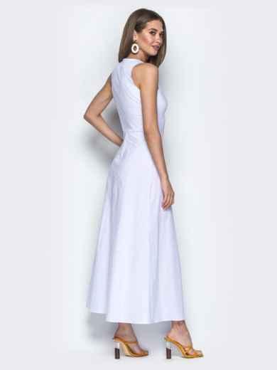 Приталенное платье-макси с квадратными пуговицами белое - 21707, фото 3 – интернет-магазин Dressa
