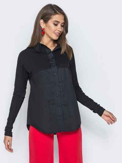 Рубашка из стрейч-коттона и рубашечной ткани черная - 14568, фото 1 – интернет-магазин Dressa