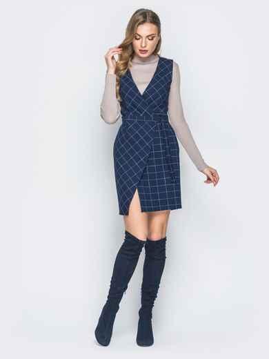 Синее платье в клетку с запахом - 18829, фото 1 – интернет-магазин Dressa
