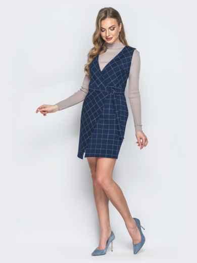 Синее платье в клетку с запахом - 18829, фото 2 – интернет-магазин Dressa