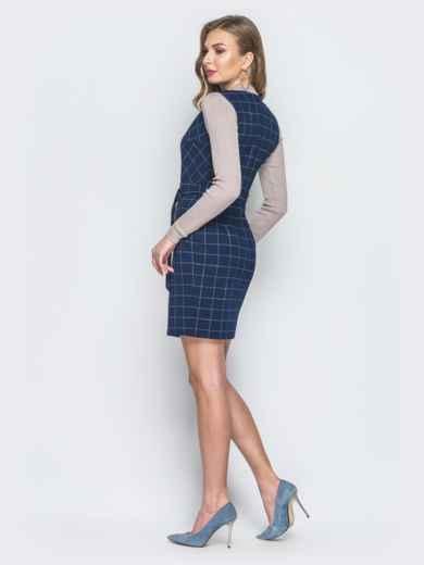 Синее платье в клетку с запахом - 18829, фото 3 – интернет-магазин Dressa