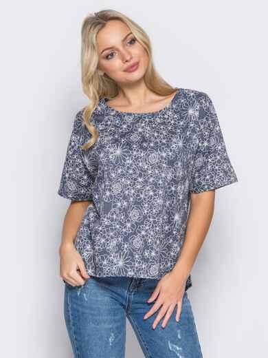 Синяя блузка с цветочным принтом - 12036, фото 1 – интернет-магазин Dressa
