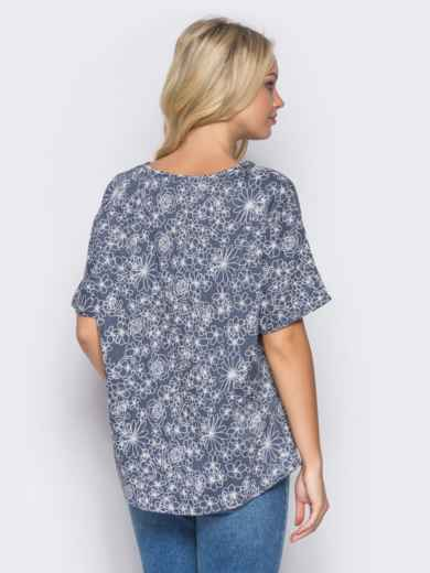 Синяя блузка с цветочным принтом - 12036, фото 2 – интернет-магазин Dressa