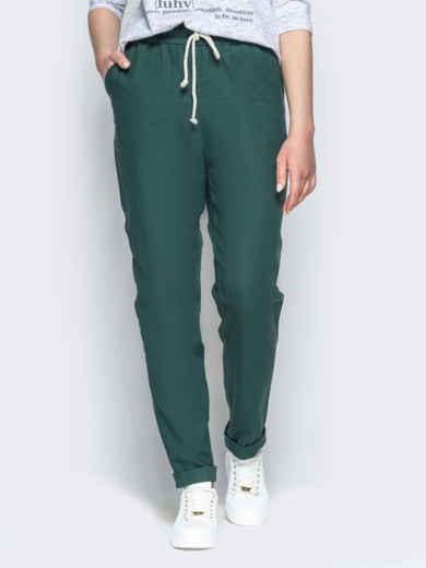 Спортивные штаны с завышеной талией на резинке зеленые 21856, фото 1