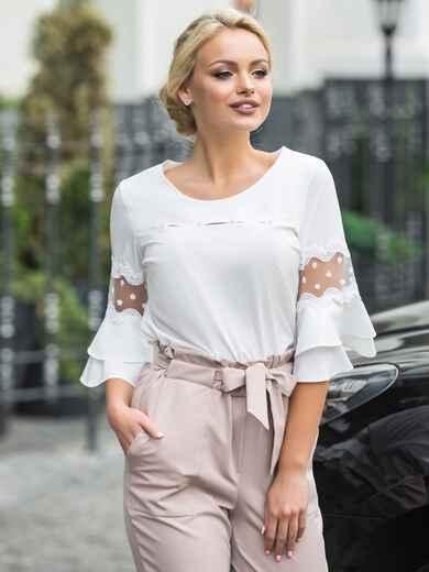 Блузка с двухъярусными рукавами и кружевными вставками - 14232, фото 1 – интернет-магазин Dressa