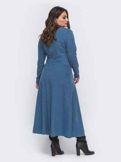 Длинное платье большого размера из трикотажа синее 50991, фото 2
