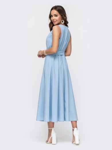 Голубое платье с расклешенной юбкой 49151, фото 2