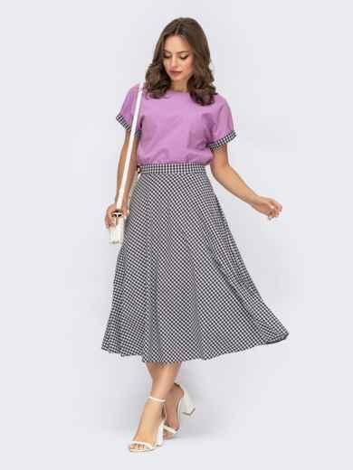 Костюм с фиолетовой блузкой и расклешенной юбкой в клетку 53766, фото 1