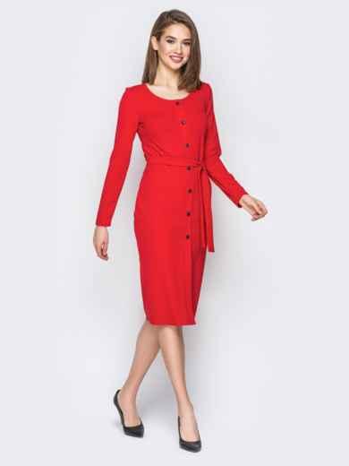 Красное платье-футляр на пуговицах с поясом - 20028, фото 2 – интернет-магазин Dressa