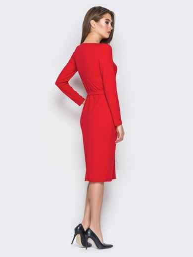 Красное платье-футляр на пуговицах с поясом - 20028, фото 3 – интернет-магазин Dressa