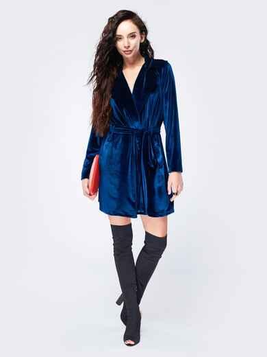 Платье из велюра с запахом синее - 17511, фото 1 – интернет-магазин Dressa