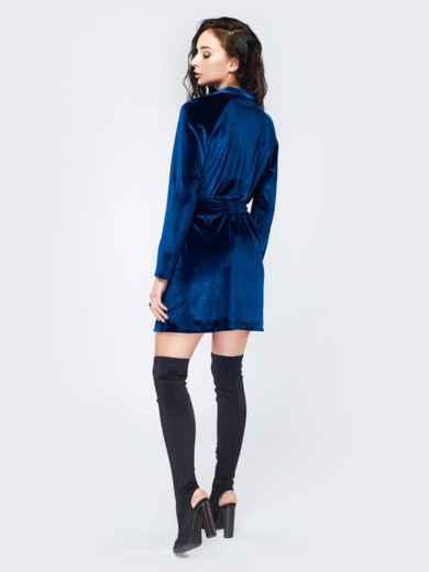 Платье из велюра с запахом синее - 17511, фото 3 – интернет-магазин Dressa