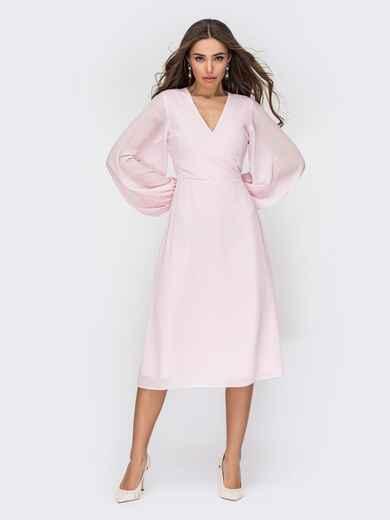 Розовое платье из креп-шифона с фиксированным запахом 53558, фото 1