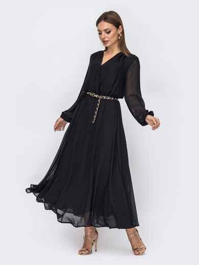 Шифоновое платье чёрного цвета с расклешенной юбкой 52357, фото 1