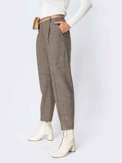 Широкие брюки в клетку с завышенной талией бежевые - 42427, фото 2 – интернет-магазин Dressa