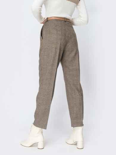 Широкие брюки в клетку с завышенной талией бежевые - 42427, фото 3 – интернет-магазин Dressa