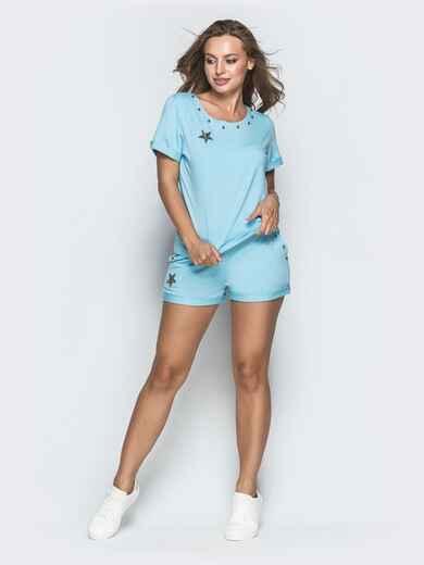 Спортивный комплект из футболки и шорт голубой 39350, фото 1
