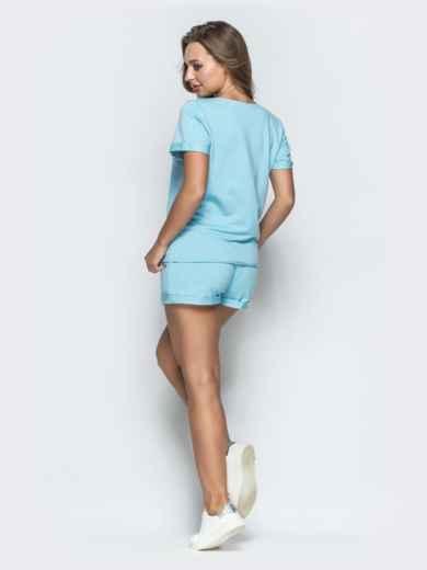 Спортивный комплект из футболки и шорт голубой 39350, фото 2