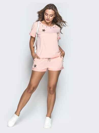 Спортивный комплект из футболки и шорт пудровый - 39349, фото 1 – интернет-магазин Dressa