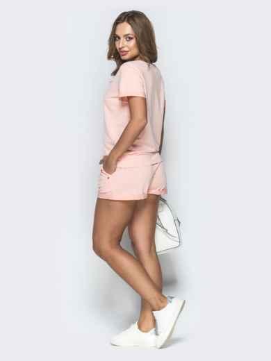 Спортивный комплект из футболки и шорт пудровый - 39349, фото 2 – интернет-магазин Dressa