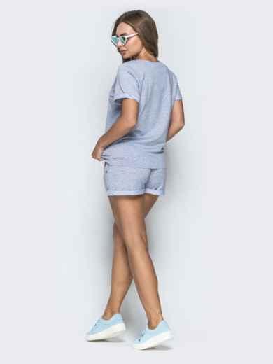 Спортивный комплект из футболки и шорт серый - 39348, фото 2 – интернет-магазин Dressa
