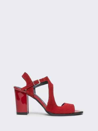 Замшевые босоножки красного цвета на устойчивом каблуке - 21705, фото 3 – интернет-магазин Dressa