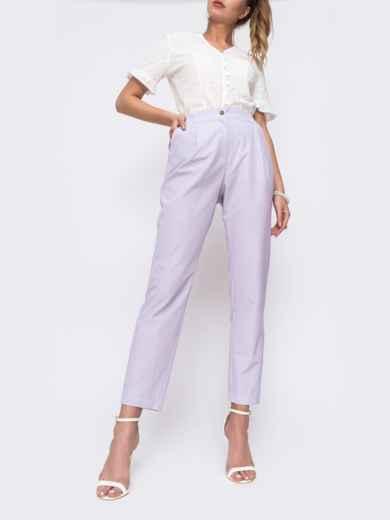 Зауженные брюки с высокой посадкой фиолетового цвета 48029, фото 1